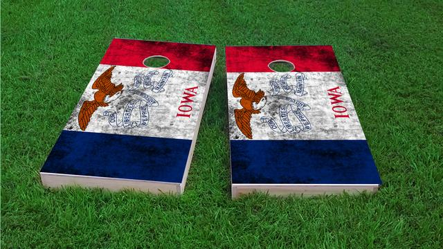 Worn State (Iowa) Flag Themed Custom Cornhole Board Design