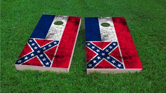 Worn State (Mississippi) Flag Themed Custom Cornhole Board Design