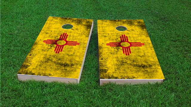 Worn State (New Mexico) Flag Themed Custom Cornhole Board Design