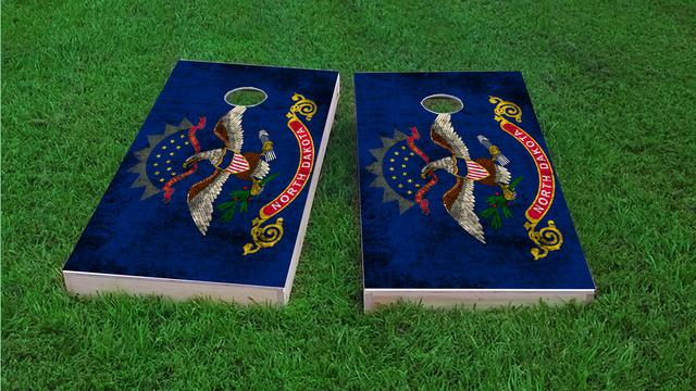 Worn State (North Dakota) Flag Themed Custom Cornhole Board Design
