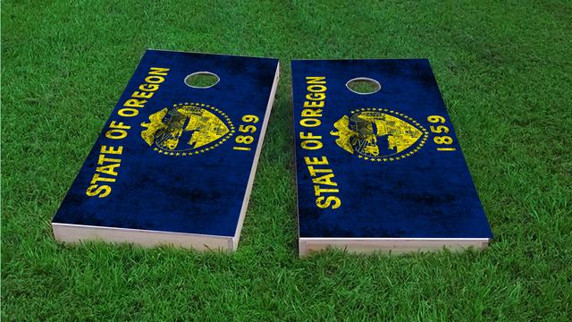 Worn State (Oregon) Flag Themed Custom Cornhole Board Design