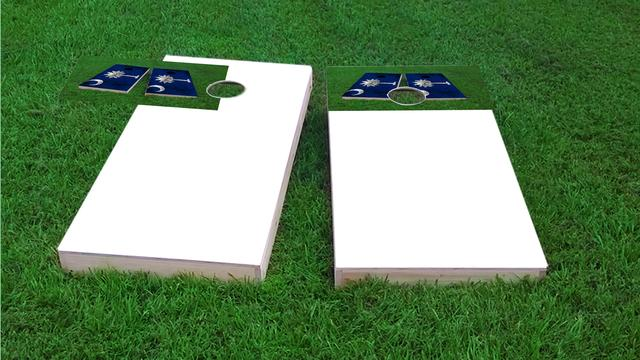 Worn State (Rhode Island) Flag Themed Custom Cornhole Board Design