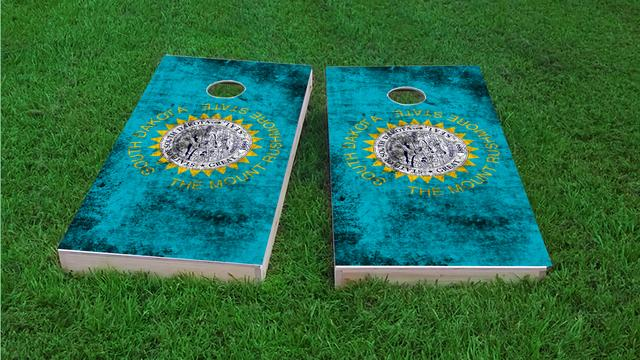Worn State (South Dakota) Flag Themed Custom Cornhole Board Design