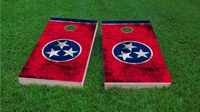 Worn State (Tennessee) Flag Themed Custom Cornhole Board Design