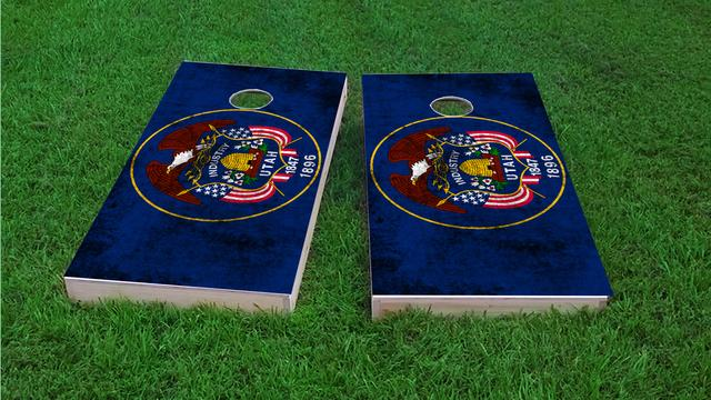 Worn State (Utah) Flag Themed Custom Cornhole Board Design