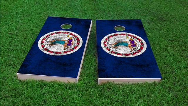 Worn State (Virginia) Flag Themed Custom Cornhole Board Design