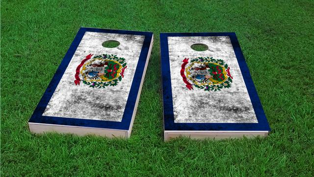 Worn State (West Virginia) Flag Themed Custom Cornhole Board Design