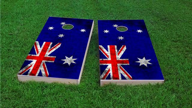 Worn National (Australia) Flag Themed Custom Cornhole Board Design