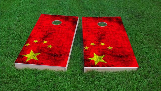 Worn National (China) Flag Themed Custom Cornhole Board Design