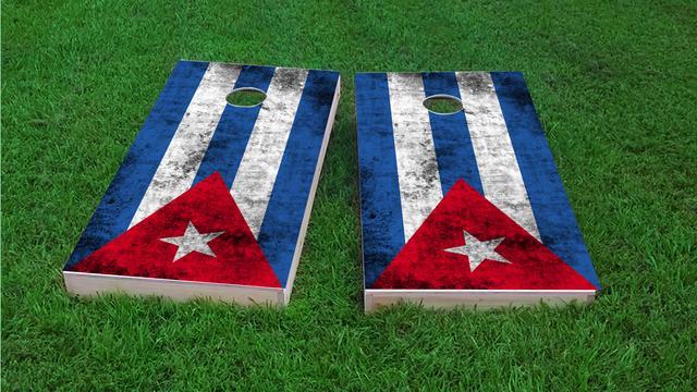Worn National (Cuba) Flag Themed Custom Cornhole Board Design