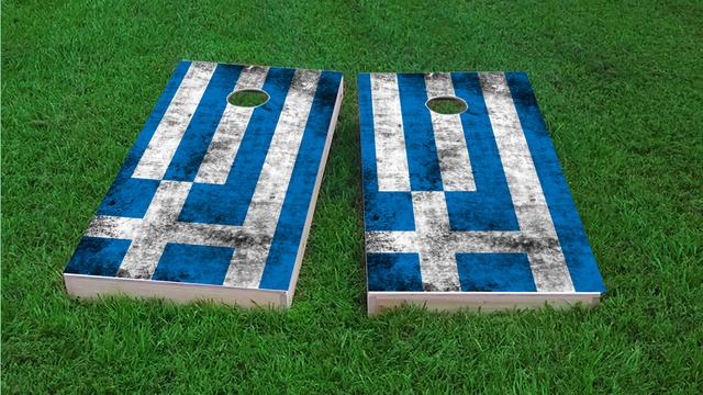 Worn National (Greece) Flag Themed Custom Cornhole Board Design