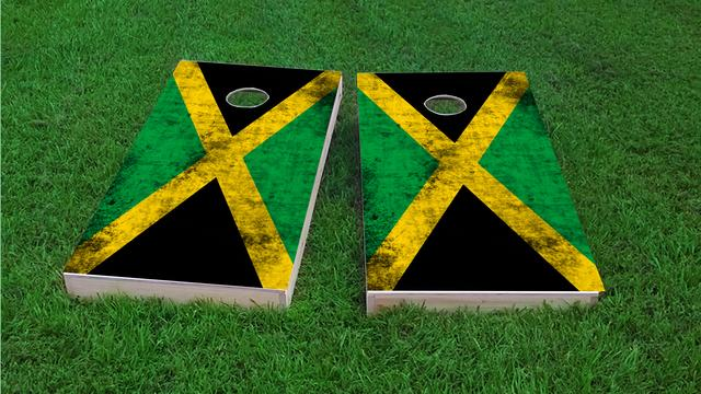 Worn National (Jamaica) Flag Themed Custom Cornhole Board Design