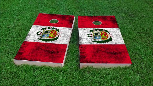 Worn National (Peru) Flag Themed Custom Cornhole Board Design