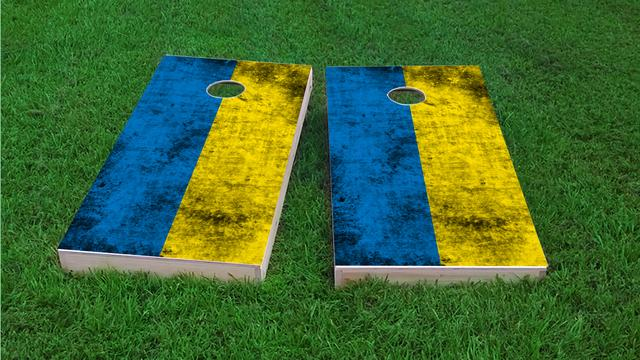Worn National (Ukraine) Flag Themed Custom Cornhole Board Design