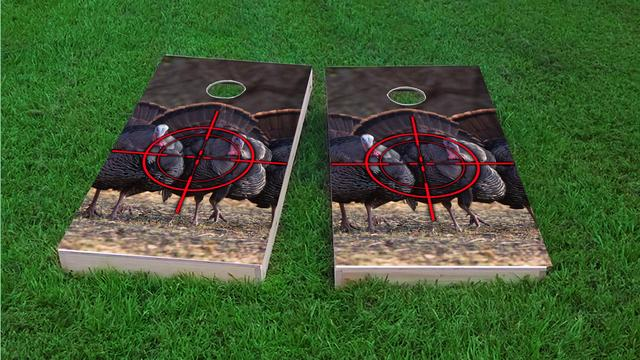 Turkey Hunting #1 Themed Custom Cornhole Board Design