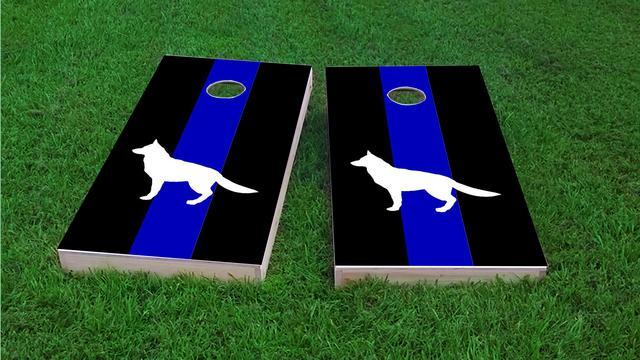 American Blue Line K9 Themed Custom Cornhole Board Design