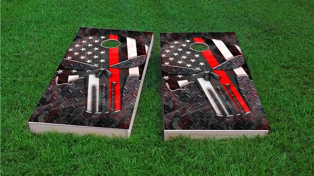 Punisher American Flag Thin Red Line Themed Custom Cornhole Board Design