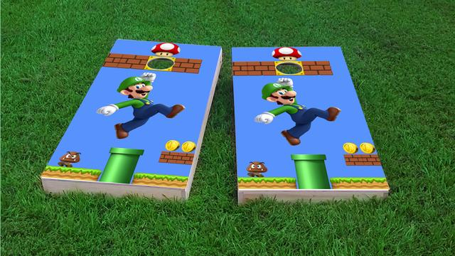 Super Mario Brother - Luigi Themed Custom Cornhole Board Design