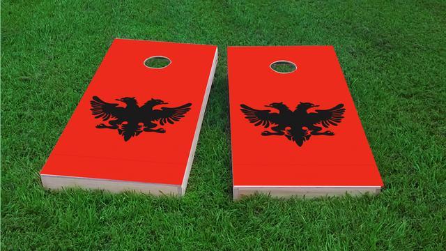Albania National Flag Themed Custom Cornhole Board Design