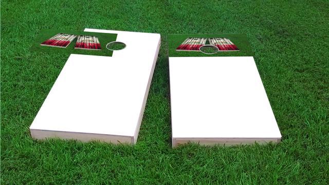 Distressed Wood Flag (Arkansas) Themed Custom Cornhole Board Design