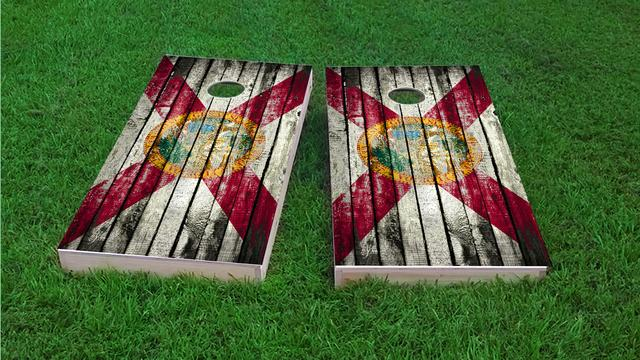 Distressed Wood Flag (Florida) Themed Custom Cornhole Board Design