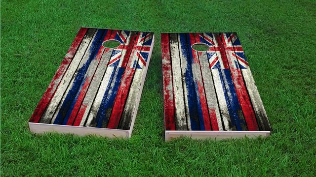 Distressed Wood Flag (Hawaii) Themed Custom Cornhole Board Design