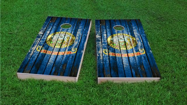Distressed Wood Flag (Idaho) Themed Custom Cornhole Board Design