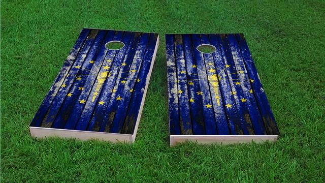 Distressed Wood Flag (Indiana) Themed Custom Cornhole Board Design