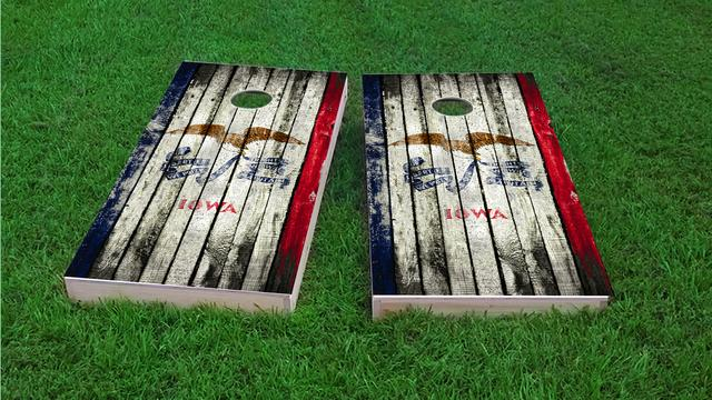 Distressed Wood Flag (Iowa) Themed Custom Cornhole Board Design