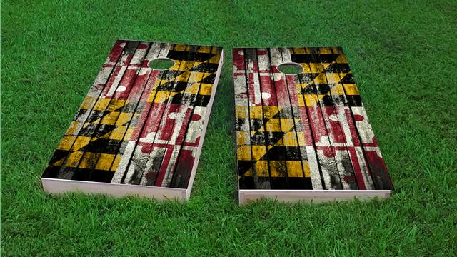 Distressed Wood Flag (Maryland) Themed Custom Cornhole Board Design