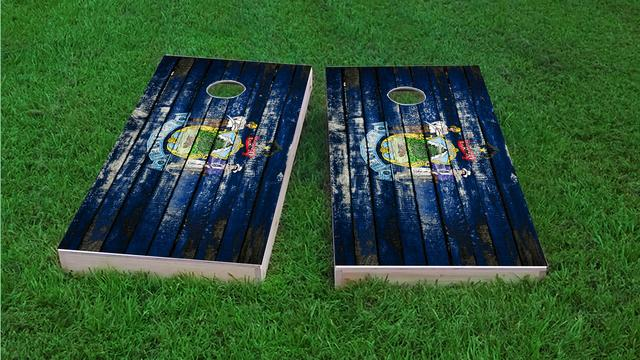 Distressed Wood Flag (Maine) Themed Custom Cornhole Board Design