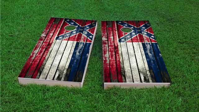 Distressed Wood Flag (Mississippi) Themed Custom Cornhole Board Design