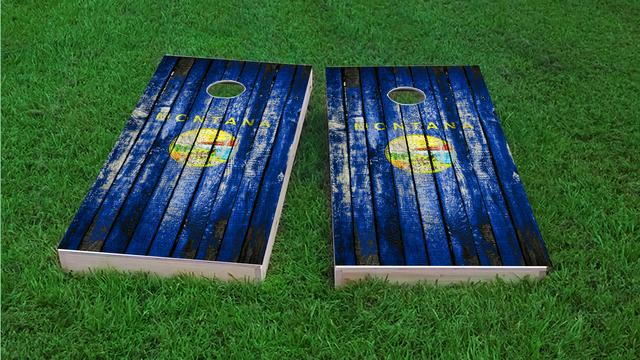 Distressed Wood Flag (Montana) Themed Custom Cornhole Board Design