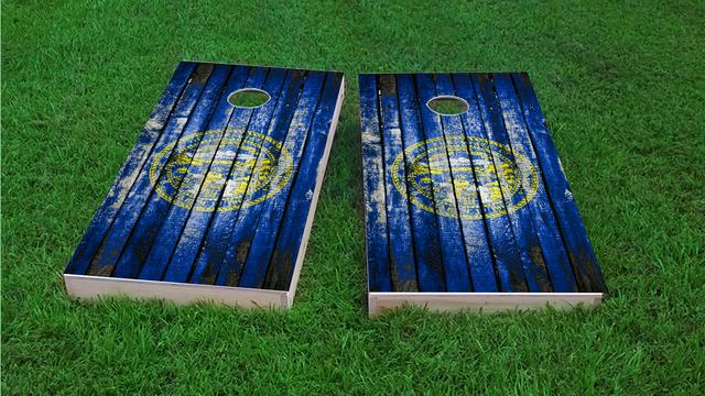 Distressed Wood Flag (Nebraska) Themed Custom Cornhole Board Design