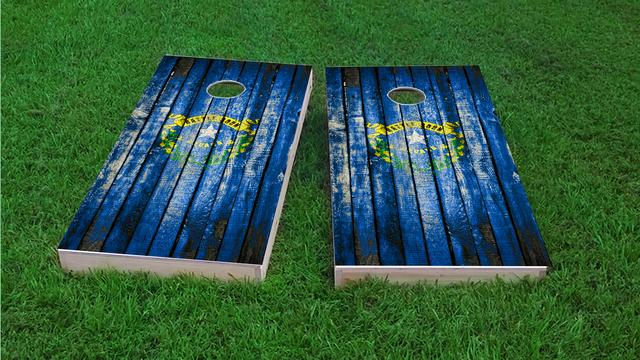 Distressed Wood Flag (Nevada) Themed Custom Cornhole Board Design