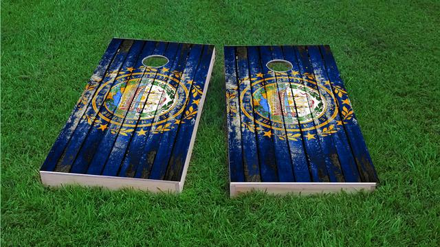 Distressed Wood Flag (New Hampshire) Themed Custom Cornhole Board Design