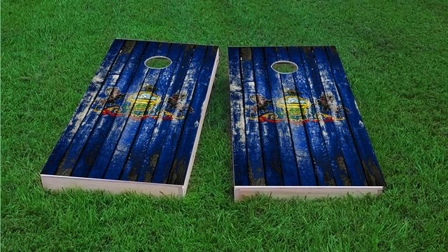 Distressed Wood Flag (Pennsylvania) Themed Custom Cornhole Board Design