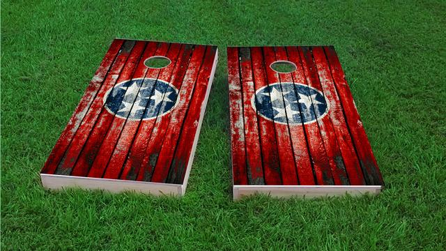 Distressed Wood Flag (Tennessee) Themed Custom Cornhole Board Design