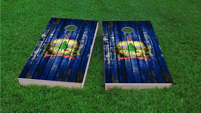 Distressed Wood Flag (Vermont) Themed Custom Cornhole Board Design