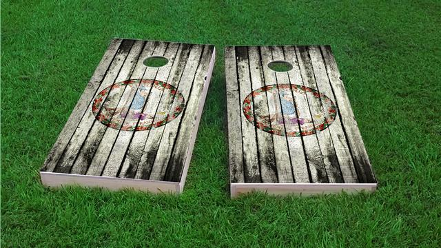 Distressed Wood Flag (Virginia) Themed Custom Cornhole Board Design