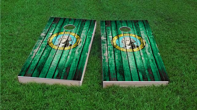 Distressed Wood Flag (Washington) Themed Custom Cornhole Board Design