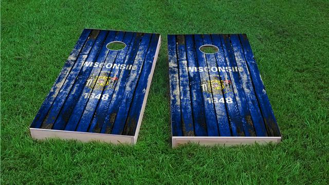 Distressed Wood Flag (Wisconsin) Themed Custom Cornhole Board Design