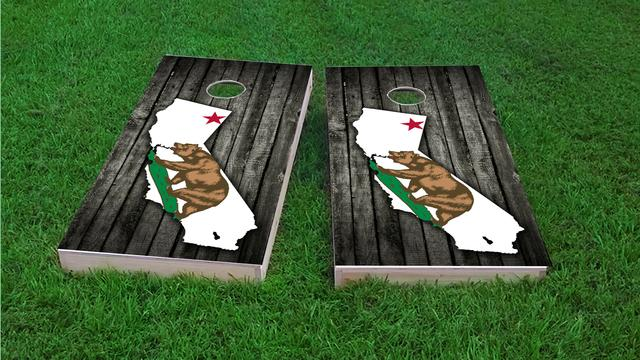 Wood Slate State Flag & Map (California) Themed Custom Cornhole Board Design