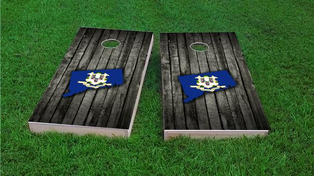 Wood Slate State Flag & Map (Connecticut) Themed Custom Cornhole Board Design