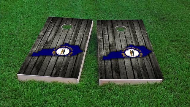Wood Slate State Flag & Map (Kentucky) Themed Custom Cornhole Board Design