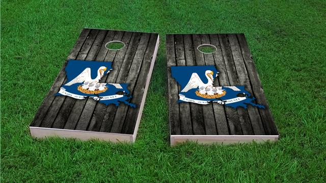 Wood Slate State Flag & Map (Louisiana) Themed Custom Cornhole Board Design