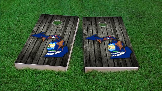 Wood Slate State Flag & Map (Michigan) Themed Custom Cornhole Board Design