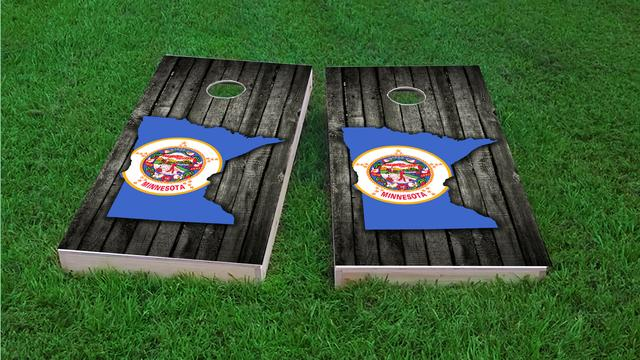 Wood Slate State Flag & Map (Minnesota) Themed Custom Cornhole Board Design