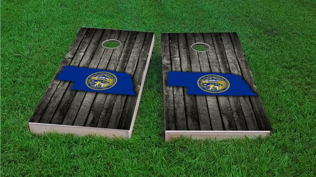 Wood Slate State Flag & Map (Nebraska) Themed Custom Cornhole Board Design