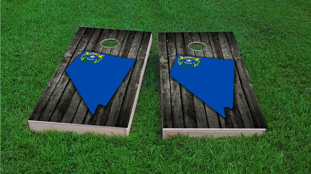 Wood Slate State Flag & Map (Nevada) Themed Custom Cornhole Board Design